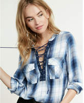 Express Lace-up Roll Sleeve Popover