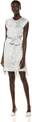 Halston Women's Flutter Cap-Sleeve Printed Dress with Waist Sash