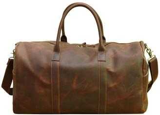 Touri Genuine Leather Holdall In Vintage Brown