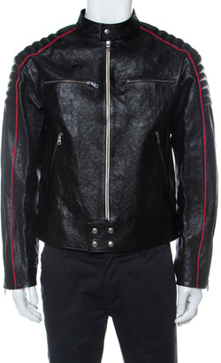 Gucci Black Calf Leather Quilt Detail Zip Front Biker Jacket M