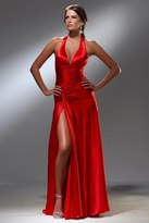 Blush Lingerie S008 Satin V-Neck Long Slit Gown