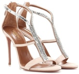 Aquazzura Constance 105 crystal-embellished suede sandals