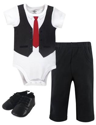 Little Treasures Little Treasure Baby Boy Short Sleeve Bodysuit, Pant & Shoes 3pc Outfit Set