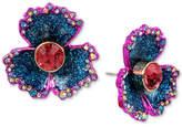 Betsey Johnson Two-Tone Multi-Stone & Glitter Flower Stud Earrings