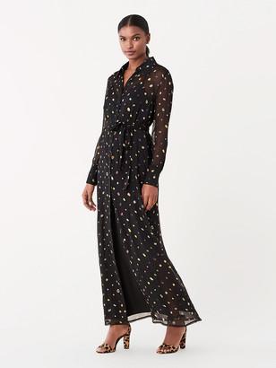 Diane von Furstenberg Jean Michel Crinkle Chiffon Maxi Shirt Dress