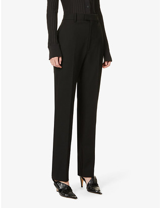 Bottega Veneta Zipped-cuff straight-leg high-rise woven trousers