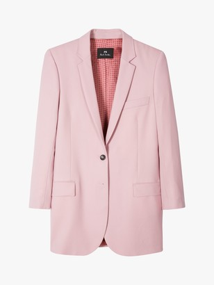Paul Smith Long Single Breasted Wool Blazer Jacket, Lilac