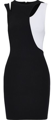 Alice + Olivia Karla Cutout Two-tone Stretch-knit Mini Dress