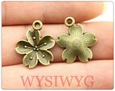 Nobrand No brand 8pcs 20*16mm diy vintage antique bronze plated flower charms