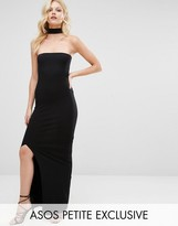 Asos Bandeau Maxi Dress With Neck Band Detail