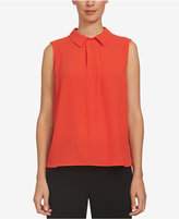 CeCe Pleated Collared Top
