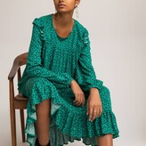 Thumbnail for your product : La Redoute Collections Leopard Print Throw-On Midi Dress with Ruffled Long Sleeves