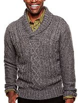 JCPenney JF J. Ferrar® Cable Front Shawl Sweater