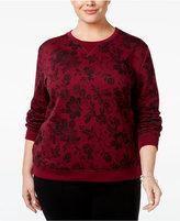 Karen Scott Plus Size Floral-Print Sweatshirt, Only at Macy's