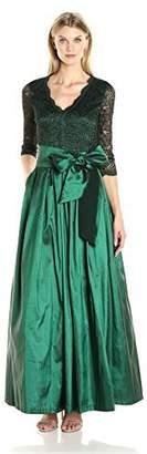 Eliza J Women's V-Neck Ballgown with Tie Sash at Waist