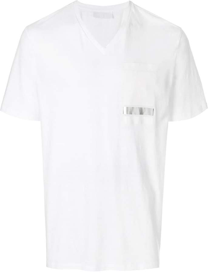 Neil Barrett block stripe v-neck shirt