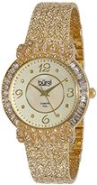 Burgi Women's BUR120YG Gold-Tone Watch with Textured Bracelet