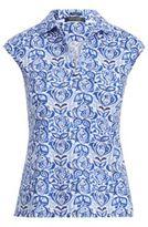 Ralph Lauren Tailored Cap-Sleeve Polo Shirt Blue Fish L