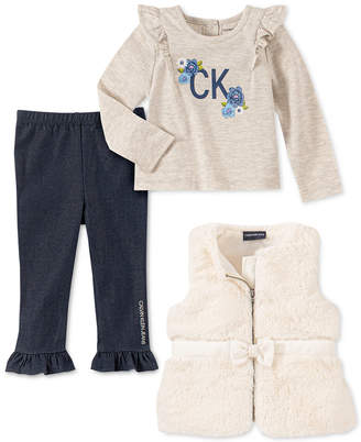 Calvin Klein Baby Girls 3-Pc. Faux-Fur Vest, Floral Top & Pants Set