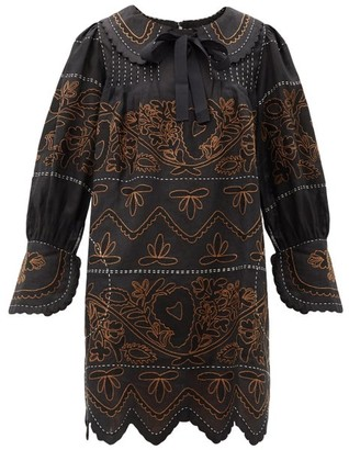 Vita Kin - Mirela Peter Pan Collar Embroidered Linen Dress - Black Brown