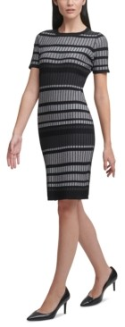 Calvin Klein Striped Short-Sleeve Sweater Dress