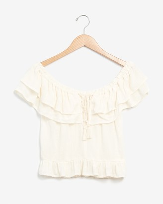Express Embroidered Off The Shoulder Lace-Up Top