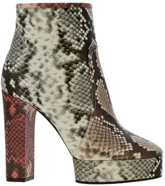 Casadei Heeled Booties Ankle Boots In Python-print Leather