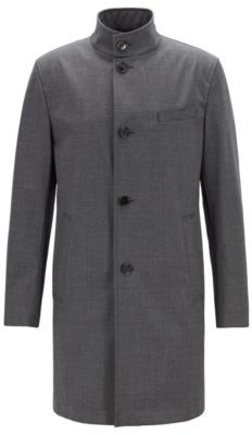 HUGO BOSS - Slim Fit Coat In Stretch Fabric With Stand Collar - Silver