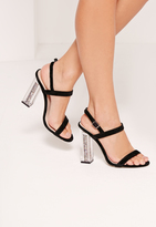 Missguided Glitter Transparent Heel Barely There Sandals Black