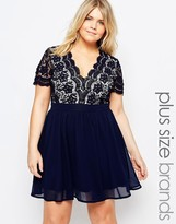 Club L Plus Skater Dress With Scalloped Crochet Top
