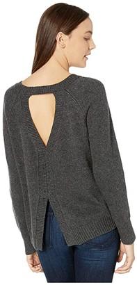 BB Dakota One-Split Wonder Split Back Crew Neck Sweater with Front Stitch Details (Medium Heather Grey) Women's Sweater