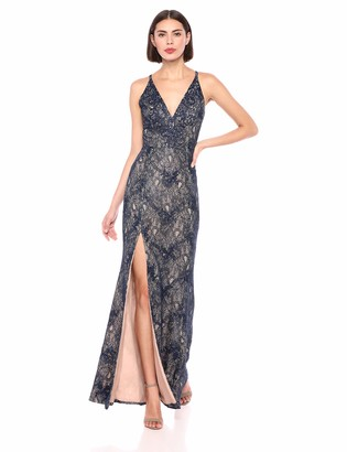 Dress the Population Women's Iris Plunging Spaghetti Strap Sleeveless Long Gown Dress