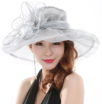 Gemini Mall Gemini_mall Women Lady Sun Hat Floral Oganza Wide Brim Flat Top Hat Elegant Ascot Race Kentucky Derby Hat Church Hat Summer Beach Cap for Party or Outgoing Travel Foldable and Breathable (Grey)