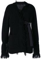 Sacai fringed wrap cardigan - women - Wool - 2