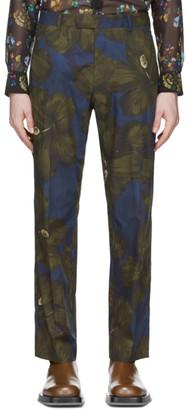 Dries Van Noten Khaki and Navy Satin Floral Trousers