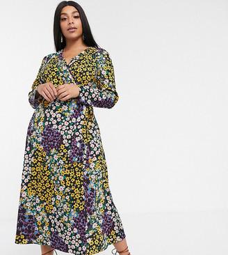 Asos DESIGN Curve wrap maxi dress in mixed daisy print-Multi
