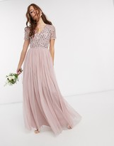 Thumbnail for your product : Maya Bridesmaid v neck maxi dress with tonal delicate sequin in pink