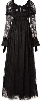 Philosophy di Lorenzo Serafini Tie-back Velvet-trimmed Lace Gown - Black