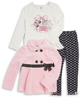 Kids Headquarters Girls 2-6x Fuzzy Jacket, Graphic Tunic and Leggings