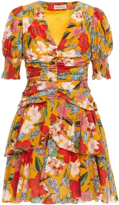 Nicholas Tiered Ruched Floral-print Cotton And Silk-blend Mini Dress