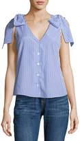 J.o.a. Bow-Shoulder Sleeveless Button-Up Blouse