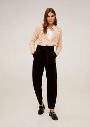 MANGO Ruffle openwork knit cardigan pastel pink - L - Women