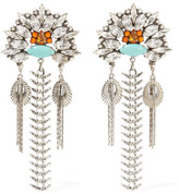Dannijo Lazarette Silver-tone, Crystal And Cabochon Earrings - One size