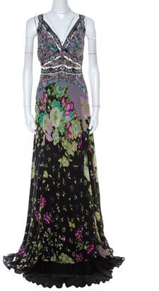 Etro Multicolor Printed Crisscross Back V-Neck Long Dress L