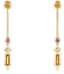 David Yurman Novella Drop Earrings in Citrine, Yellow Beryl & Pink Sapphire with Diamonds
