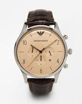 Emporio Armani Leather Strap Watch Ar1878 - Brown