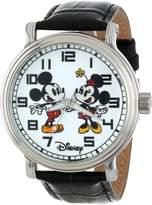 Disney Men's W001012 Vintage Mouse Black Leather Strap Watch