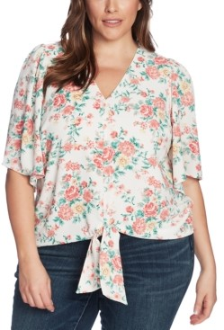 1 STATE Trendy Plus Size Floral-Print Tie-Front Top