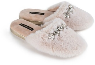Pretty You London Dido Elegant Diamante Mule Slippers In Cream