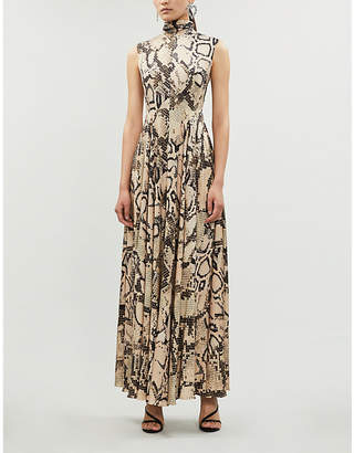 SOLACE London Rhoda snake-print woven maxi dress